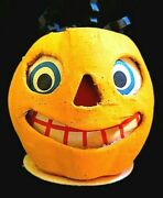 Vintage Halloween Paper Mache Jack-o-lantern Candy Container Germany. N.o.s.
