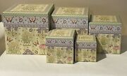 Debbie Mumm - Stackable Nested Boxes - Set Of 5 - Spring Blossoms