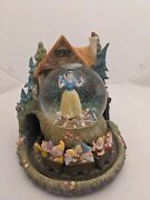 Disney Snow White And Seven Dwarves Large Musical Snowglobe Collectibles Rare Vtg