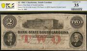 1861 2 Two Two Dollar South Carolina Bank Note Large Currency Civil War Pcgs 35