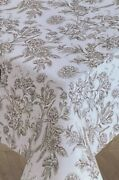 Floral Toile Tablecloth Cotton White And Black 70 Round