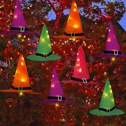 8 Packs Halloween Decorations Outdoor Hanging Lighted Witch Hat For Tree Yard