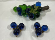 3 Pcs Lucite Glass Grapes And Candleholders Mid Centry Modern