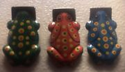 3 Vintage Tin Toy Frog Clickers
