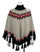 New Hbc Olympic Team Canada Collection Fair Isle Beige Knit Poncho Cape One Size