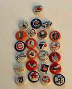 Mt To Nm Vintage 1970's Creative House Mlb Baseball Pins, Complete Set Of 24