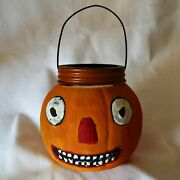 Antique Jack O Lantern Pumpkin Glass Candy Container For Halloween German 1905
