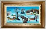 Naive Russian Winter Scene Oil Painting By Menski - Framed And Artist Signed
