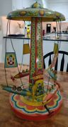 Vintage J. Chein Ride A Rocket Space Age Amusement Ride Tin Litho Wind-up Toy