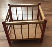 Vintage Baby Doll Playpen Wooden Red Scarce 12andrdquo