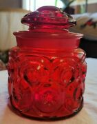 L.e. Smith Glass Tea Canister With Lid Red Ruby Glass