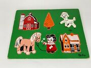 Vintage Sifo Puzzle Wooden Farm, Lamb, House, Horse, Tree, Girl 6 Pieces