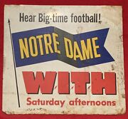 Antique 1940and039s U Of Notre Dame Football Tin Radio Advertising Metal Sign Old