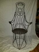 John Risley Post War American Craft Wrought Iron Chairs Table Glass- Sculpture
