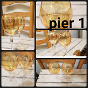 6 Pier 1 Amber Gold Iridescent 8 5/8andrdquo Water Goblets P1c1 Discontinued Pattern