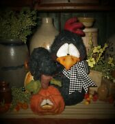 Primitive Pattiand039s Ratties 11 Rooster Chicken Halloween Pumpkin Fall Doll Sikes