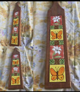 Vintage Wood Tile Wall Hanging Cutting Board Butterfly Flowers