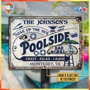 Custom Name And Place Pool Bar And Grill Classic Metal Sign