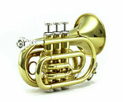 Quality Bb Gold Plated Brass Pocket Trumpet W Strong Case 7c Mouthpiece