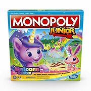 Monopoly Junior Unicorn Edition Board Game For 2-4 Players Magical-themed Ind...