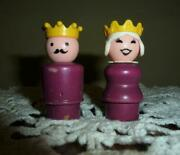 Vintage Fisher Price Little People King And Queen Figures Castle 993 Wood