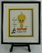 Tweety Bird X Stitch Finished Framed Sylvester Cat Pin Stand Looney Tunes Ooak