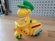 Vintage 1972 Peanuts Woodstock On Yellow Motorcycle Plastic Toy A+ Condition