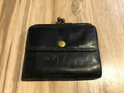 Vintage Coach Bifold Small Black Leather Wallet Coin Purse Kisslock