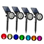 Solar Spot Lights Outdoor 2-in-1 Colored Adjustable 7 Led Color 4 Pack