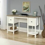 Rustic Home Desk White Farmhouse Computer Writing Storage Table With Drawers