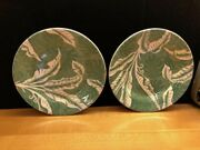 Vintage Wallace China Restaurant Ware Green Shadow Leaf Plates