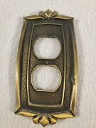 Vintage Donner Antique Brass Metal Bronzed Electrical Outlet Plate Cover