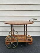 Vintage/antique Italian Inlaid Marquetry Wood Serving Bar And Tea Cart Drop Leaf