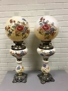 """Antique Vtg Pair Hurricane Cream Color Floral Painted Table Lamps 29"""" Tall"""