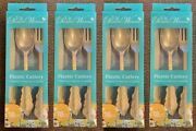Pioneer Woman Plastic Cutlery 72pc Gold Knives Forks Spoons New Fast Usps Ship