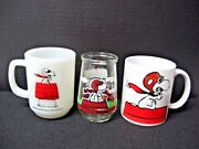 Lot 3 Snoopy Red Baron Anchor Hocking + Ceramic Coffee Mugs + Welchand039s Glass