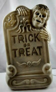 Halloween Lighted Blow Mold Trick Or Treat Tombstone Grave Skeleton Bat 29
