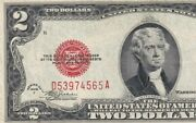 D53974565a 1928f Two Dollar Legal Tender Red Seal Small Stain But In Good Cond