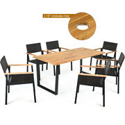 7pcs Outdoor Patio Rattan Dining Chair Table Set Solid Wood Frame Umbrella Hole