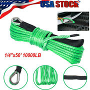 1/4x 50 10000lbs Synthetic Winch Line Cable Rope For Suv Utv Atv Winches Truck