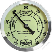 Midwest Hearth Bbq Smoker Thermometer For Barbecue Grill, Pit, Barrel 3 Dial 4