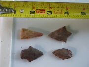 1020 Lot Of 4 Artifacts,4 Arrowheads,texas, Found Bywestfamily Somerville Area.