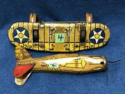 As Is Vintage Marx Sparkling Airplane Tin Litho Wind Up 712 Us Army Toy Parts4