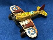 Vintage Marx Sparkling Airplane Tin Litho Wind Up 712 Us Army Colorful Orig. 2
