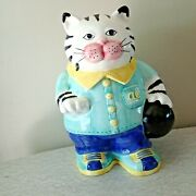Cat Cookie Jar Al The Alley Kitty Bowling Fitz And Floyd Black White Tabby 1993
