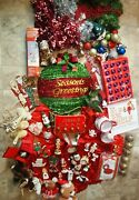 Huge Lot Of Vintage Christmas Ornaments Decorations Garland And More