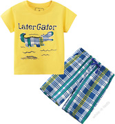 Deachala Toddler Boys Summer Clothes Kids Short Sleeve Outfits Size 2-7t