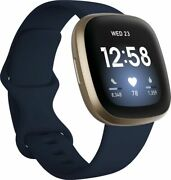 New Fitbit Versa 3 Health And Fitness Smartwatch Gps Soft Gold Blue Band