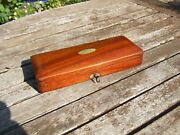 Small Antique Rich Mahogany Instrument Box With Keytop Quality Original Lining