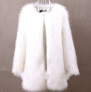 Womens Fur Coats Loose Round Collar Mid Length Jacket Casual Ladies Fashion Plus